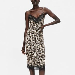 Zara leopard print slip dress